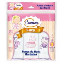 Pano De Boca Luxo Bordado Cremer C/3 Und - Menina