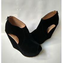 Plataforma Tacon Dama Calzado Elegante Negro Envío Gratis