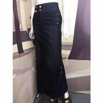 Saia Longa Moda Evangélica Jeans Black (38 A 48) - Pura Flor