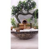 Fonte Água Bambu Cerâmica Pedra 1 Bica Com Bonsai Artificial