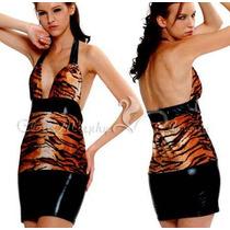 516-vestido De Animal Print Bien Al Cuerpo! Detalles Vinilo!