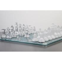 Jogo De Xadrez - Tabuleiro E Peças De Vidro