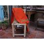 Antiguo Poncho Naranja Listado Telar Criollo Lana De Oveja