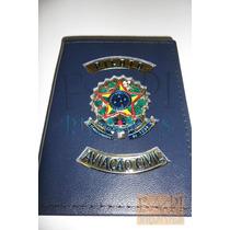 Carteira Porta Funcional De Piloto Aviação Civil Couro Azul