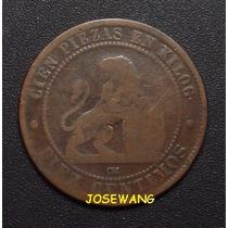 10 Centimos, Moneda Antigua De Espania Del Año 1870 Unico