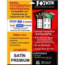 Papel Fotográfico Profesional Carta Satín Premium 20 Hojas