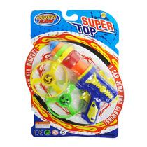 Pião De Plástico Divertido 2 Discos E Lançador Brinquedo