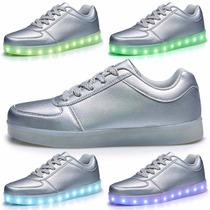 Zapatillas Luces Led 7 Color Plateado Usb Niños Adultos