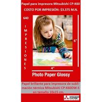 Papel P/impresora - Ideal Para Cabina De Fotos Cp-k60/d80