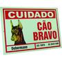 Placa De Advertência Dobermann - Cuidado Cão Bravo