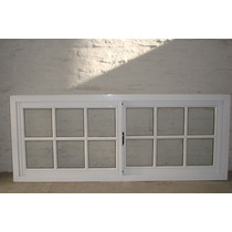 Ventana De Aluminio Blanco Vidrio Repartido 150x60