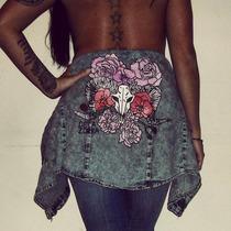 Camisa Jean Diseño Bones Flores Handmade Pintada A Mano