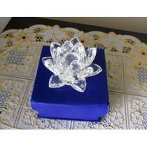 Flor De Lótus Brilhante Em Cristal 8 Cm