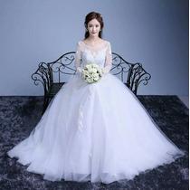 Vestido De Noiva Tule Manga Longa Branco
