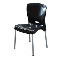 Cadeira De Plástico Bistrô Preta Pés De Alumínio