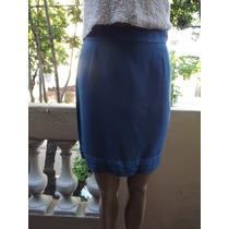 Pollera Falda De Vestir Azul Francia Vestido ( C )