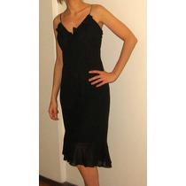Vestido De Gasa Color Negro Con Breteles De Strass