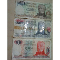 3 Billetes Antiguos 1-10-50 Pesos Argentinos
