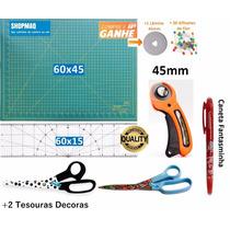 Kit Base De Corte 60 +régua 60 +cortador + 2 Tesouras+caneta