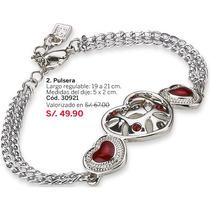 Pulsera Red Heart Baño Plata Brilante Cristales Rojos Esika