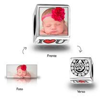 Berloque Personalizado Quadrado Com Sua Foto - Prata 925