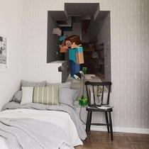 Adesivos Porta Ou Parede Decorativo Infantil Minecraft 3d