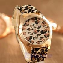 Reloj Geneva Silicona Leopardo Animal Print Por Mayor