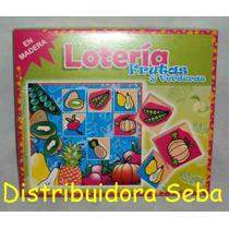 Loteria Frutas Y Verduras 36 Fichas Madera 6 Cartones