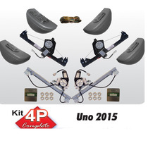 Kit Vidro Eletrico Uno Novo 2015 4p Completo Com Antiesmagam