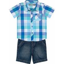 Conjunto Infantil Baby Camisa Xadrez + Bermuda Jeans Marisol