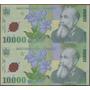 Rumania 10000 Lei 2000 P112 Hoja De 2 Billetes Plastico
