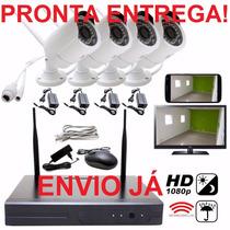 Kit Nvr 4 Câmeras 1.3mp 4ch Infra Wi-fi 100m 1080p P2p Cftv!