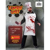 Zombie Costume - Mens Bloody Chef Set Con Sombrero Y Delanta