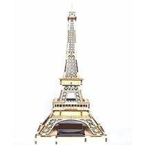 Rompecabezas 3d Solar De Madera, Con Luz Led Torre Eiffel
