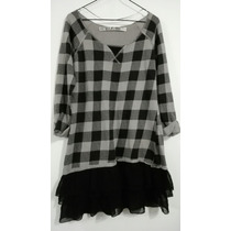 Vestido Invierno Plomo Y Negro A Cuadros Zara