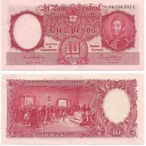 Billete 10 Pesos Moneda Nacional Serie A Firma Roja Exc+++++