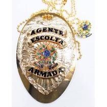 Distintivo Agente Escolta Armada Folheado Ouro Brinde Bótom