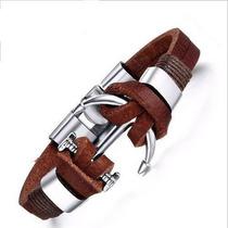 Brazalete De Ancla Piel Genuina Broche Metalico Tip Rolex