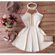 Vestido Rodado Tecido Malha Crepe Tule E Pérola Reveillon