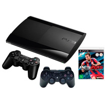 Playstation 3 Ps3 12gb S.slim 3d C/2 Controles + Jogo Pes 14