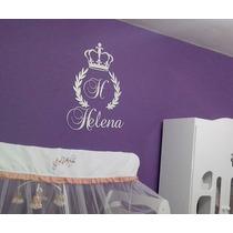 Painel De Parede Mdf Branco Inicial Coroa Quarto Do Bebê