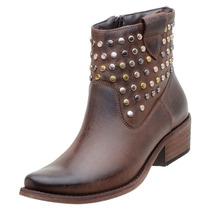 Sapato Feminino Bota Cano Curto Ankle Boot Marrom