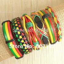 Estuche 6 Manillas Cuero Varios Colores Moda Casual Unisex