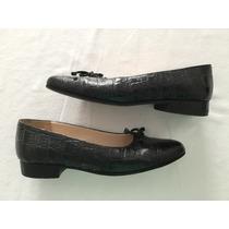 Zapatos Cuero Negro. Taco Bajo (2cm). Talle 37