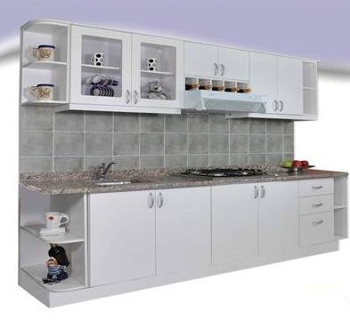 Mueble De Cocina Melamina Blanca 2,40mts Amoblamientos Fl - $ 40.315 ...