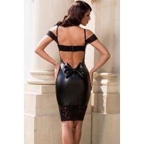 Sexy Vestido Negro Vinyl Y Abertura Espalda Con Tiras Y Moño