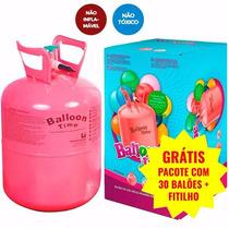 Cilindro Gás Hélio Bujão Portátil 30 Balões Bexigas + Brinde
