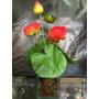 Arranjo Flores Artificiais Lótus Vaso Vidro - Vermelho