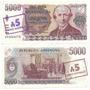 5000 Pesos Argentinos Sobre5 Australes Bottero 2703a Sin Uso