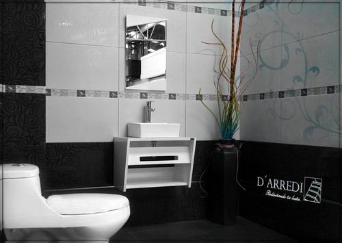 Mueble de ba o gaby blanco minimalista lavabo y for Mueble bano minimalista